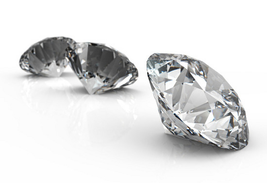 Diamonds isolated on white 3d model